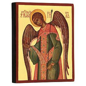 Ícono rusa pintada Arcángel Gabriel 14x10 cm s3