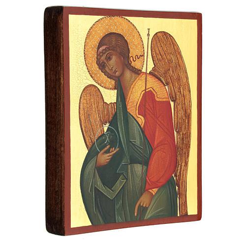 Ícono rusa pintada Arcángel Gabriel 14x10 cm 3