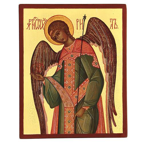 Ícono rusa pintada Arcángel Gabriel 14x10 cm 1