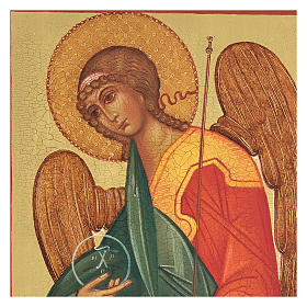 Icona russa dipinta Arcangelo Gabriele 14x10 cm s2