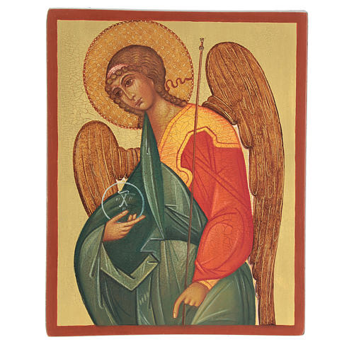 Icona russa dipinta Arcangelo Gabriele 14x10 cm 1