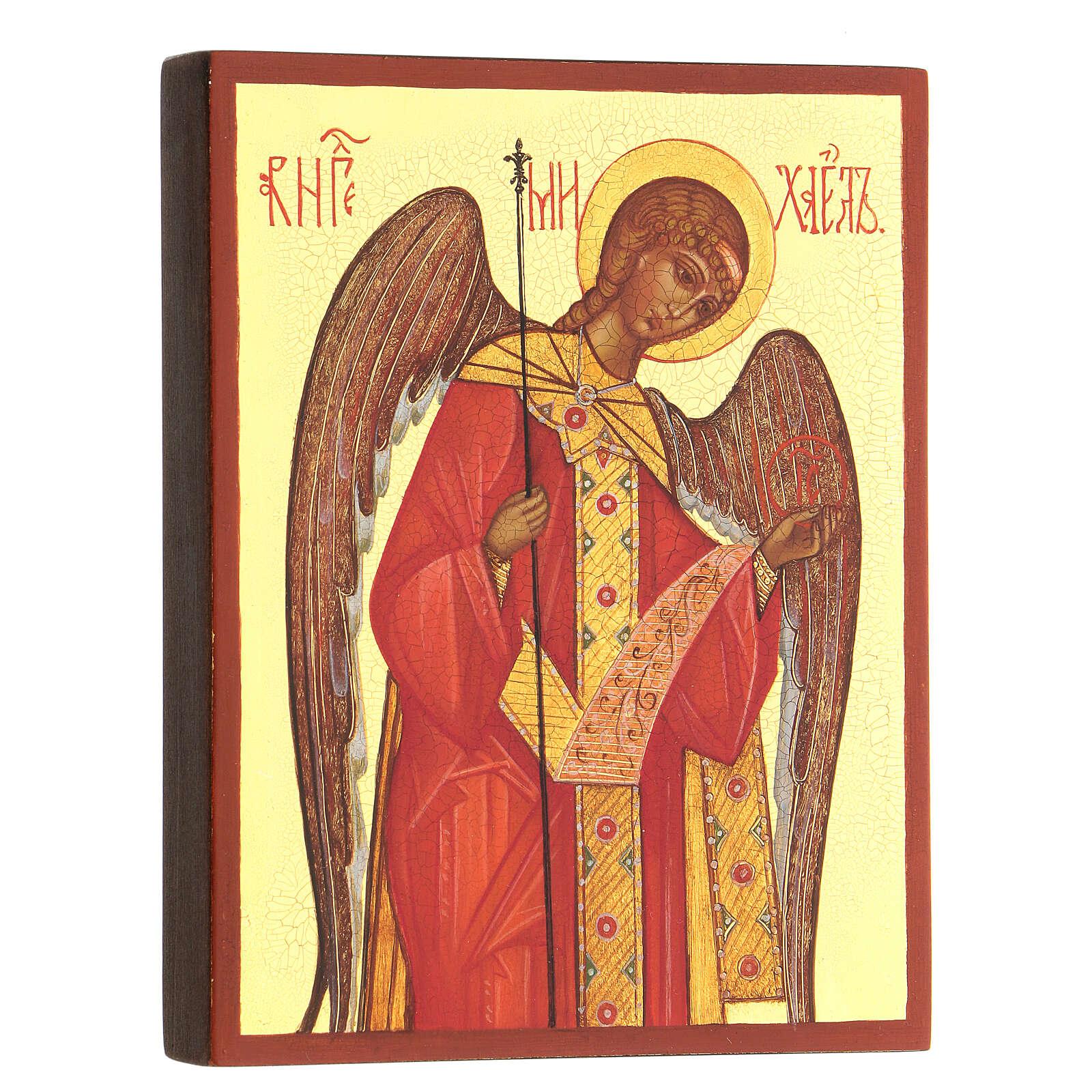 Ícono rusa pintada Arcángel Miguel 14x10 cm 4
