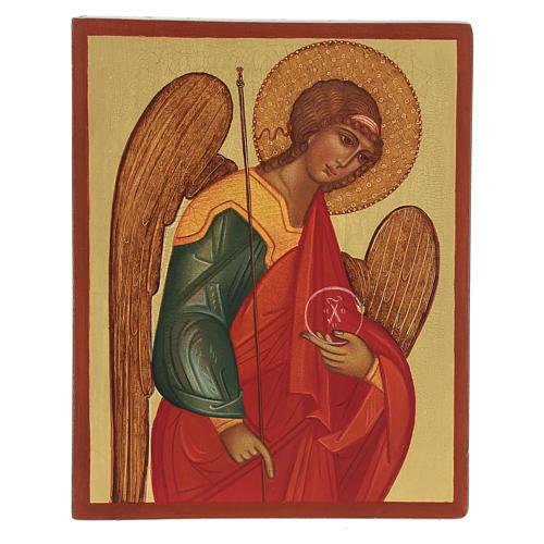Ícono rusa pintada Arcángel Miguel 14x10 cm 1