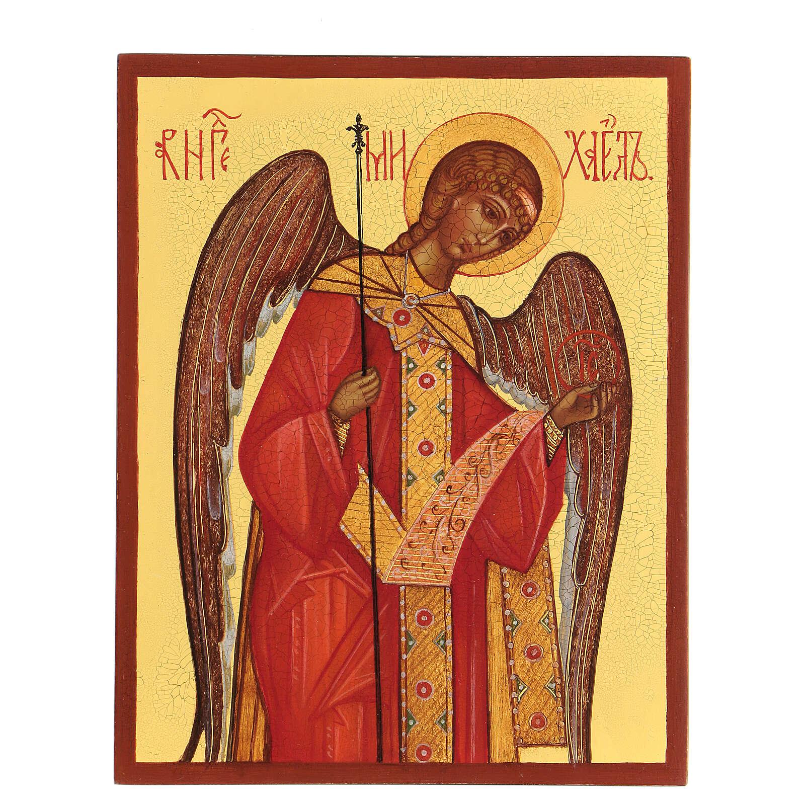 Ikona rosyjska malowana Archanioł Michał 14x10 cm 4
