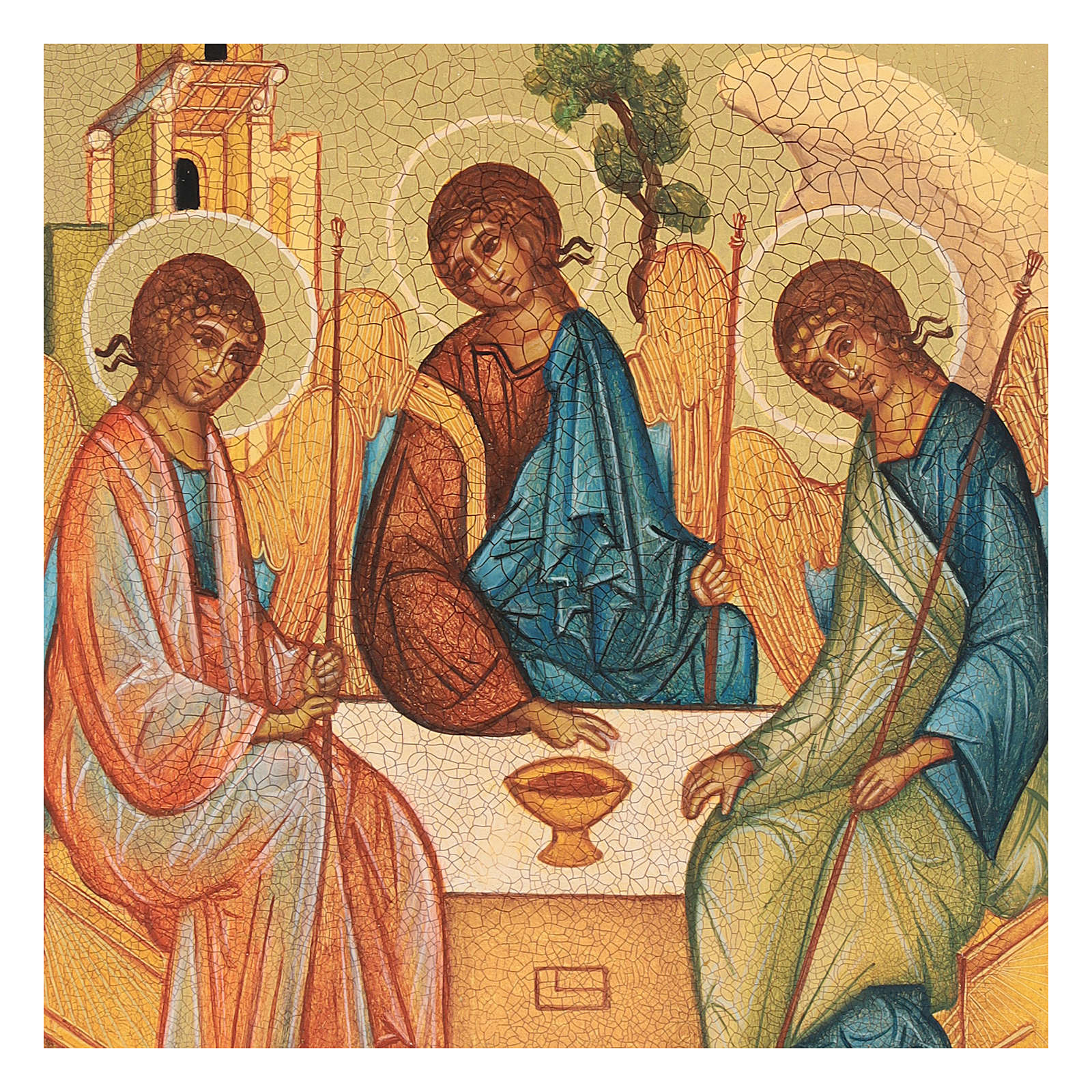 Russian painted icon, Rublev's Trinity 14x10 cm 4