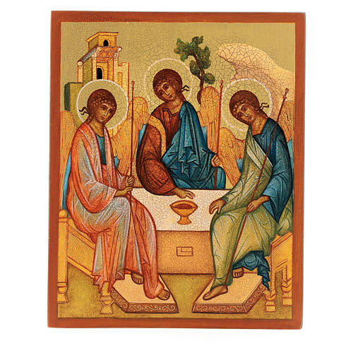 Russian painted icon, Rublev's Trinity 14x10 cm 1