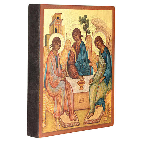 Russian painted icon, Rublev's Trinity 14x10 cm 3