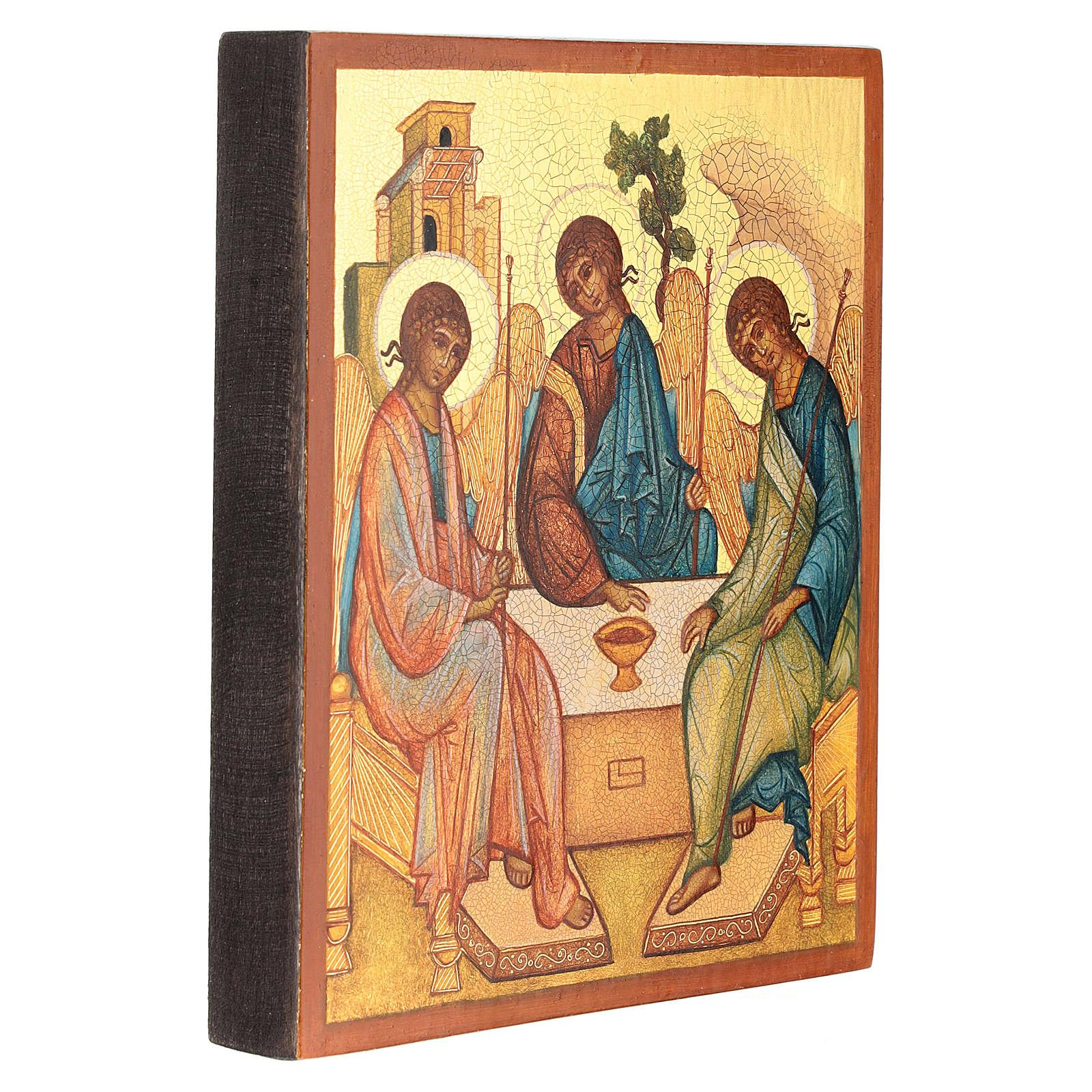 Icône russe peinte Trinité de Roublev 14x10 cm 4