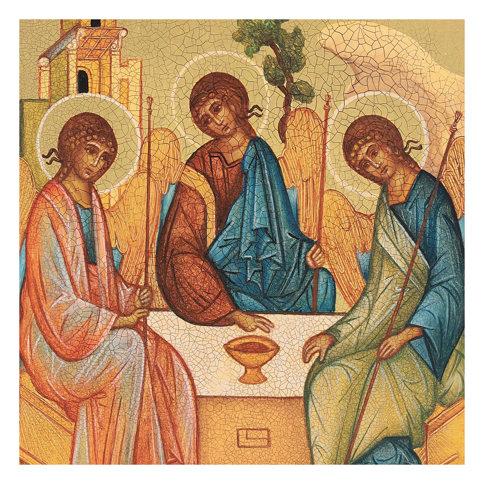 Icona russa dipinta Trinità di Rublev 14x10 cm 4