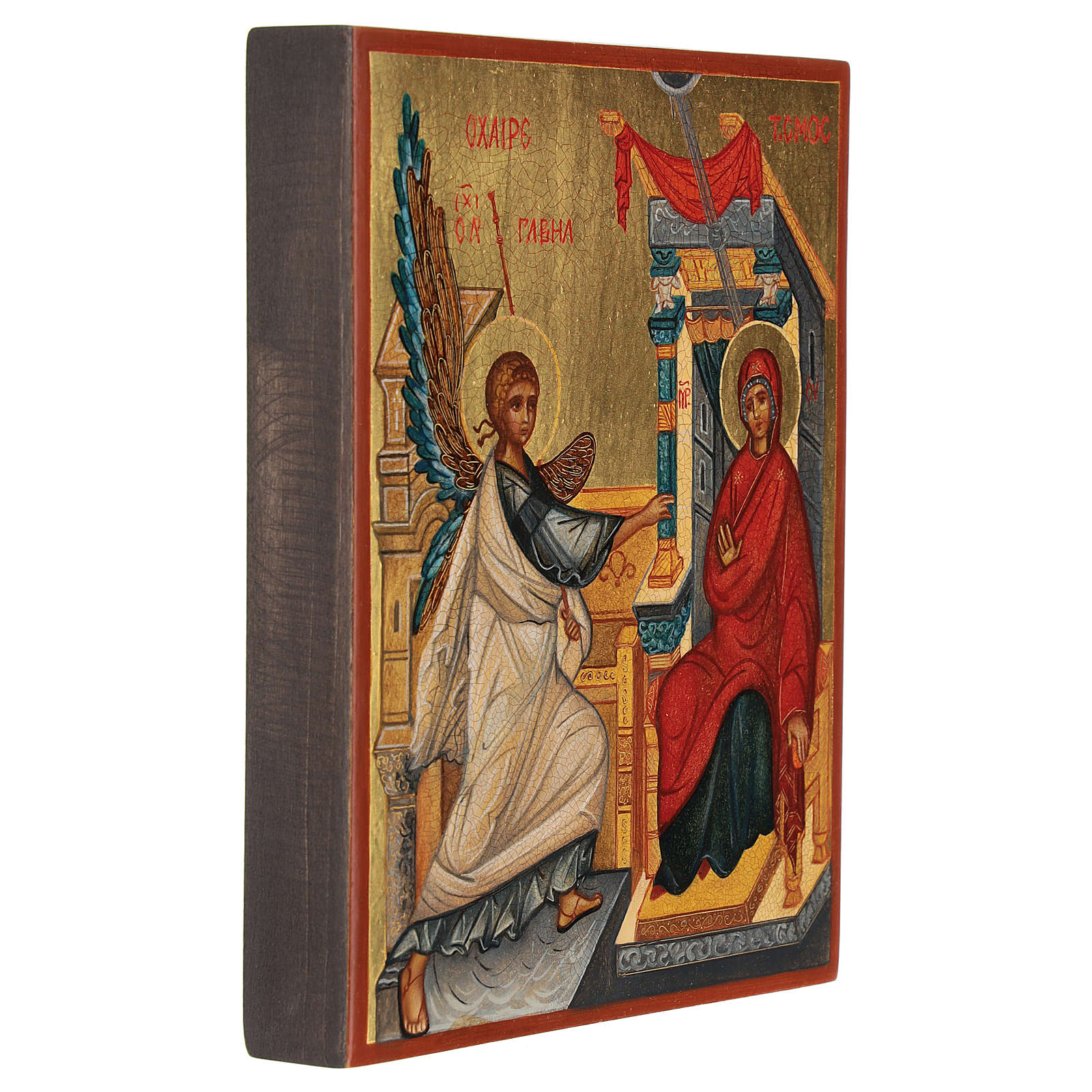 Icona russa dipinta Annunciazione 14x10 cm 4