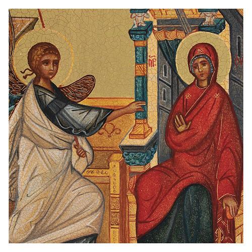 Icona russa dipinta Annunciazione 14x10 cm 2