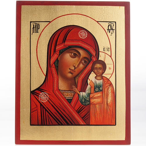 Ícono Virgen de Kazan Rusia bordes rojo 1