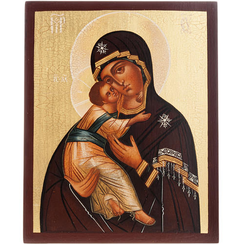 Painted icon, Our Lady of Vladimir, Russia, 21x17cm 1