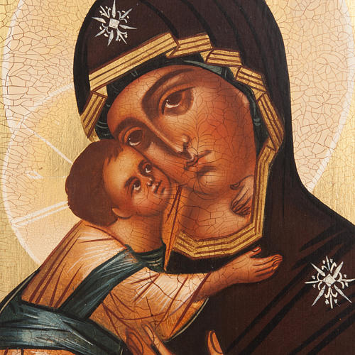 Painted icon, Our Lady of Vladimir, Russia, 21x17cm 2