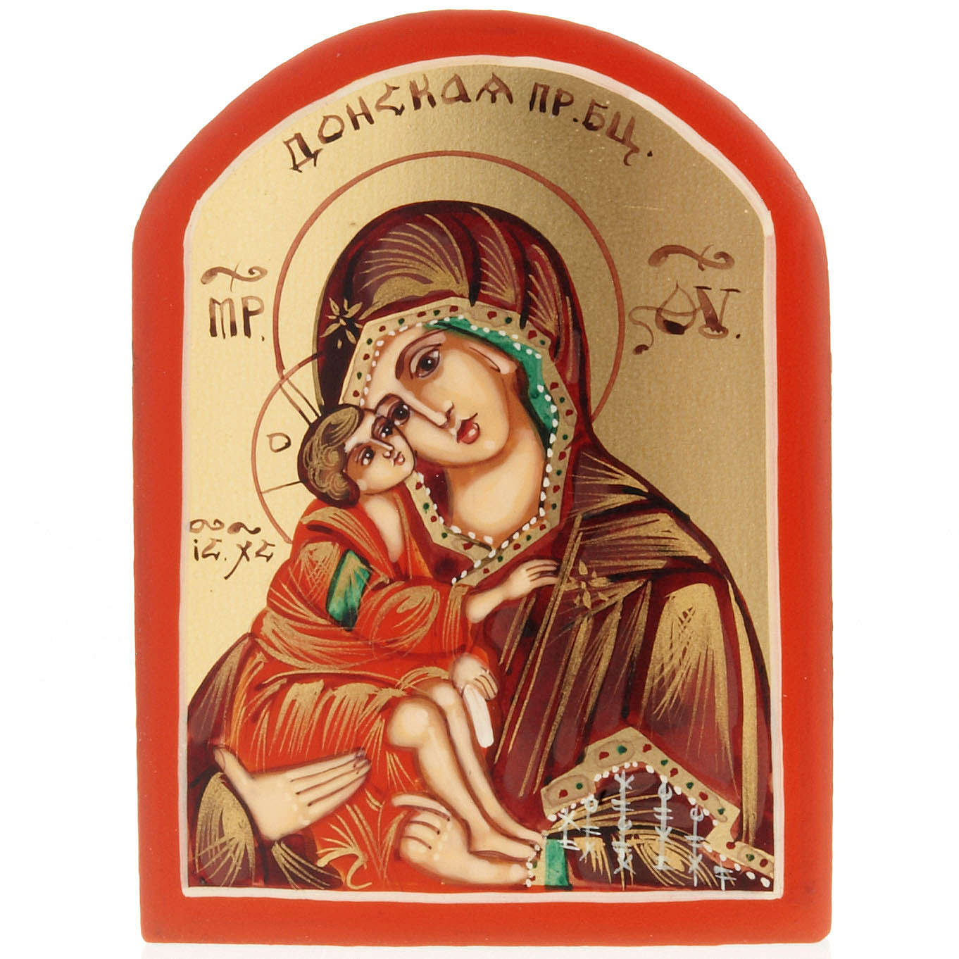 Miniature Russian icon, Our Lady of the Don 6x9cm 4
