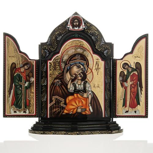 Trittico russo Mstjora Madre di Dio Odigitria 17,5x21 1