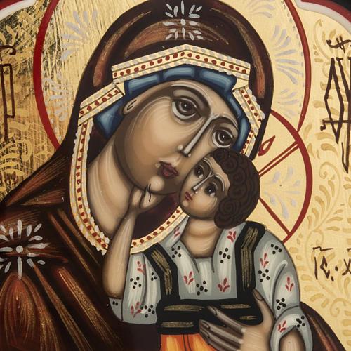 Trittico russo Mstjora Madre di Dio Odigitria 17,5x21 2