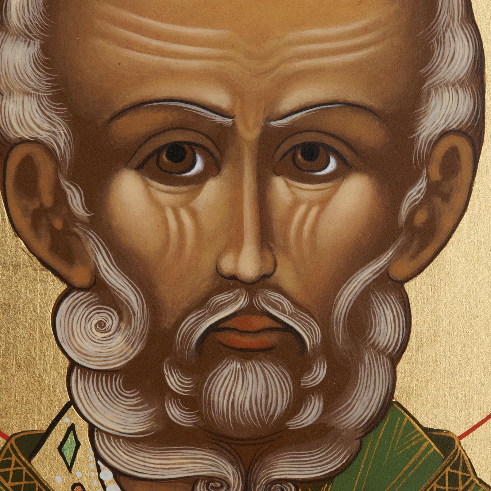 Ícono ruso San Nicolás pintado 4