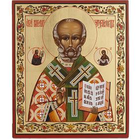 Ícono ruso San Nicolás pintado s1