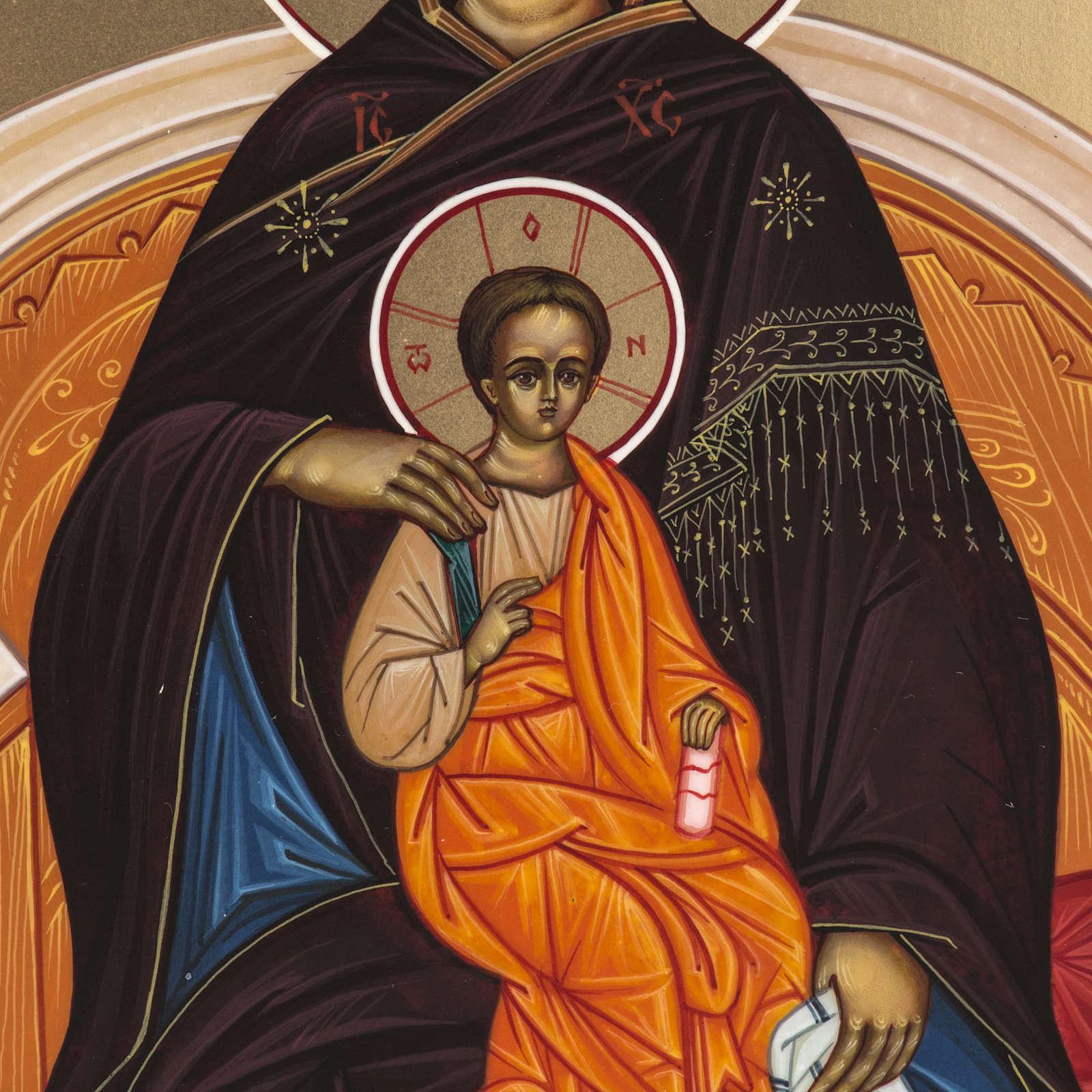Icona Russia dipinta Madonna in Trono 27x22 4