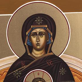 Icona Russia dipinta Madonna in Trono 27x22 s3