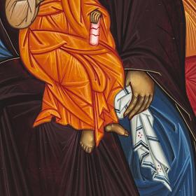 Icona Russia dipinta Madonna in Trono 27x22 s4
