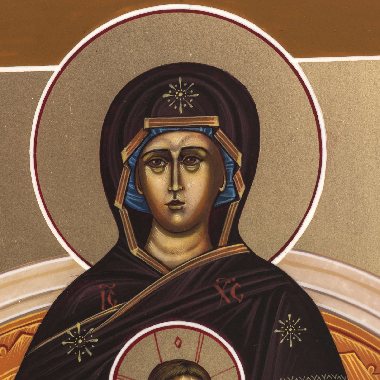 Russian painted icon, Our Lady sitting on throne 27x22cm 4