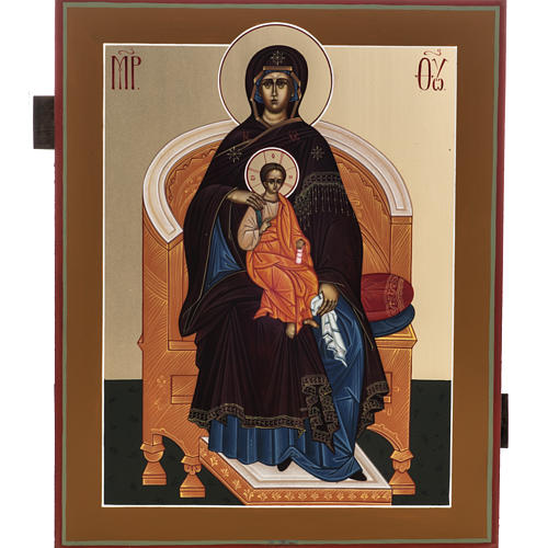 Russian painted icon, Our Lady sitting on throne 27x22cm 1