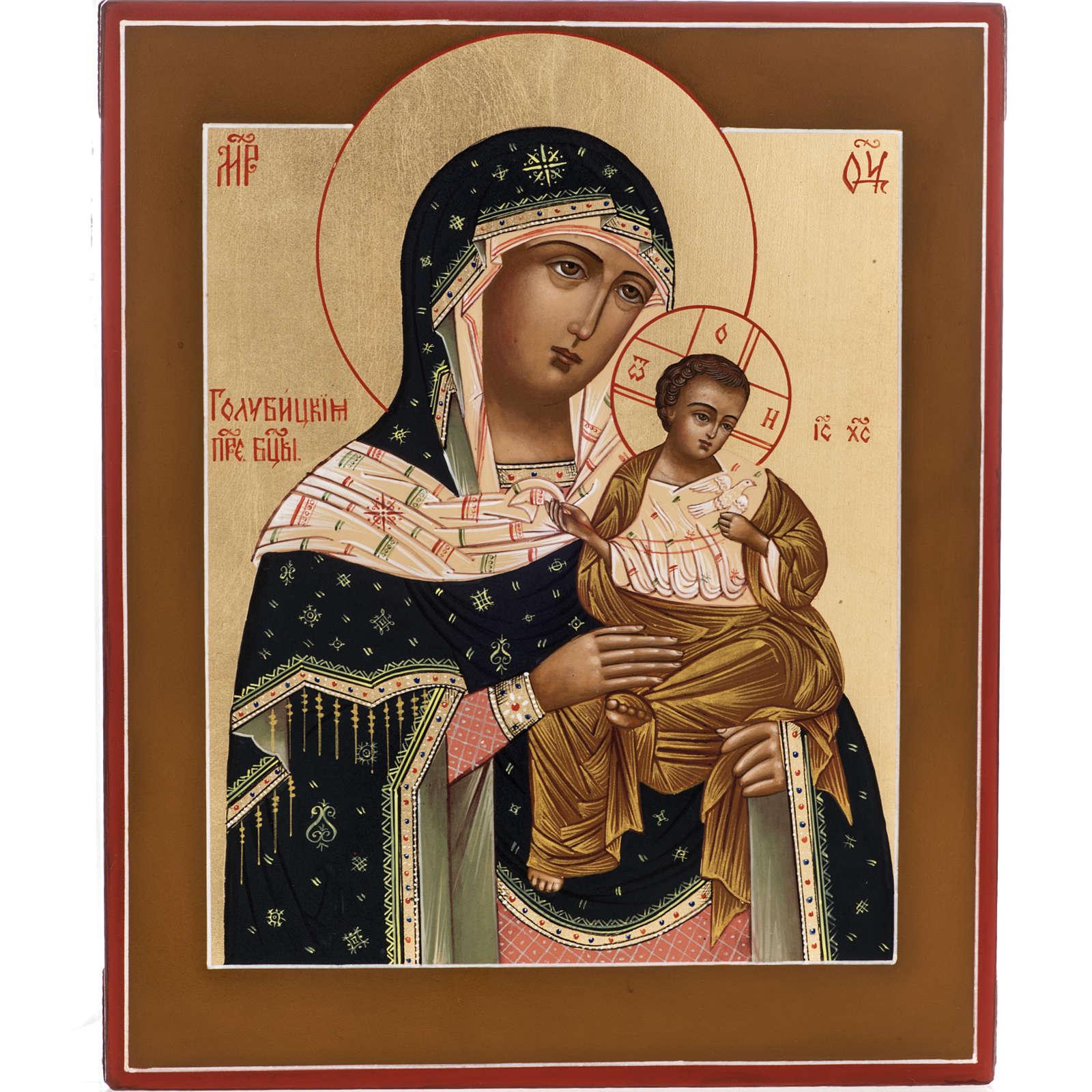 Icône russe Vierge Tendresse avec colombe 27x22 cm 4