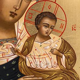 Icône russe Vierge Tendresse avec colombe 27x22 cm s2
