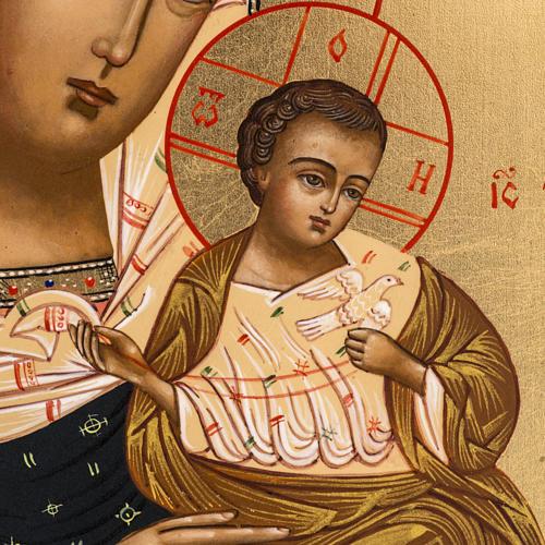 Icône russe Vierge Tendresse avec colombe 27x22 cm 2