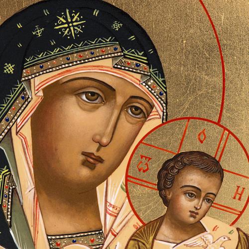 Icône russe Vierge Tendresse avec colombe 27x22 cm 3