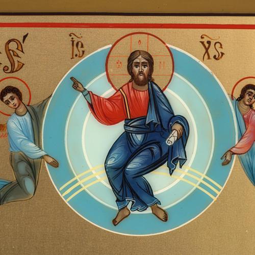 Icona Russia dipinta Ascensione 27x22 2