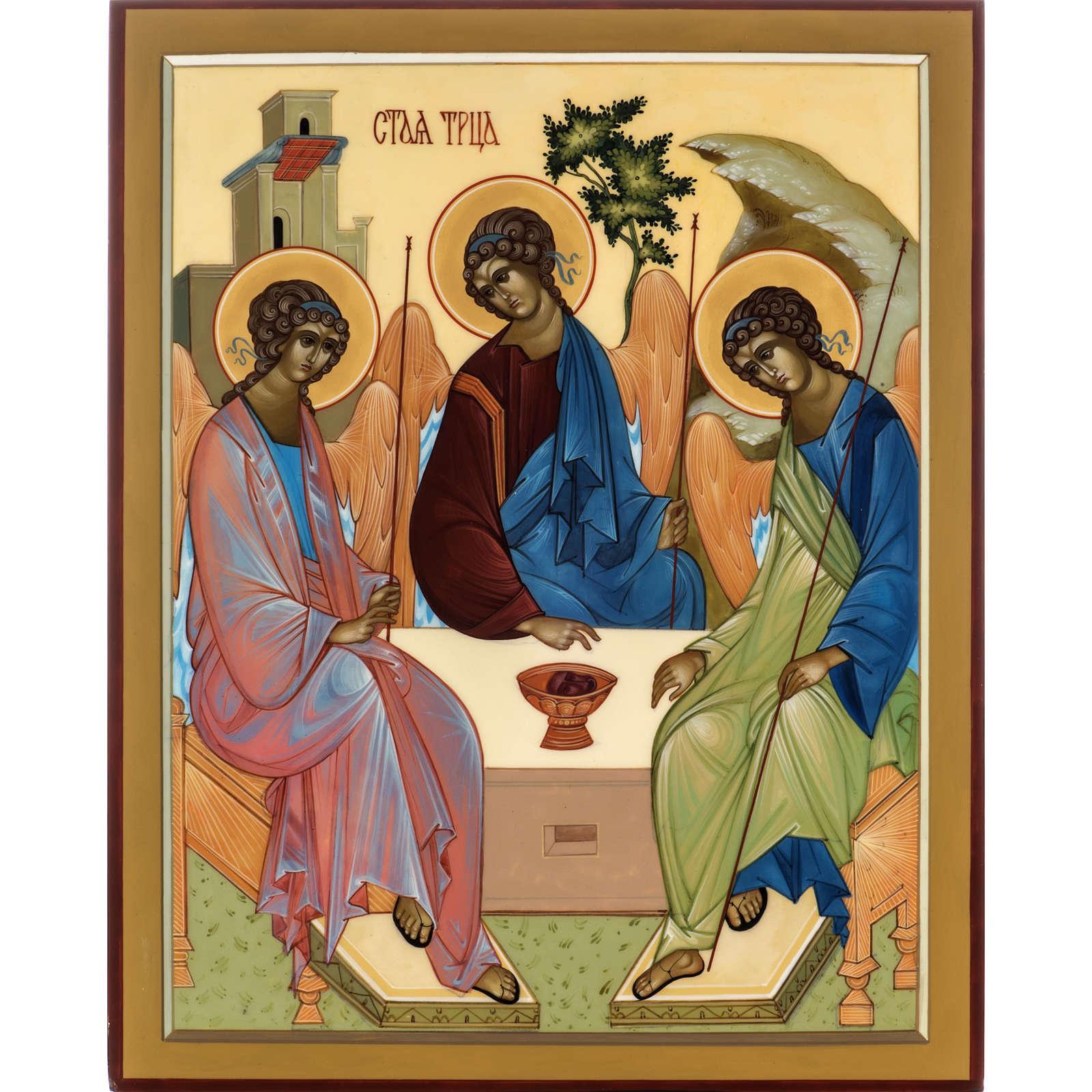 Icona Russia Santissima Trinità di Rublev 31x26 4