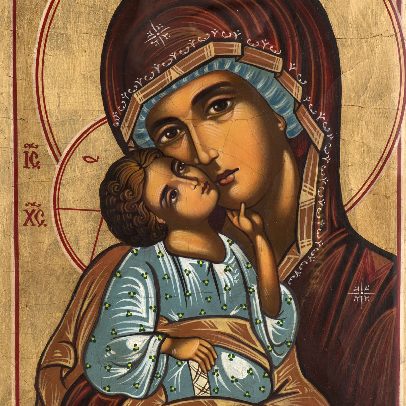 Russian icon in glass, Madonna and Child 4