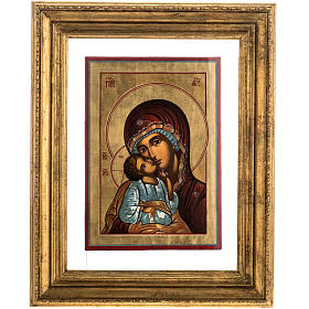 Russian icon in glass, Madonna and Child s1