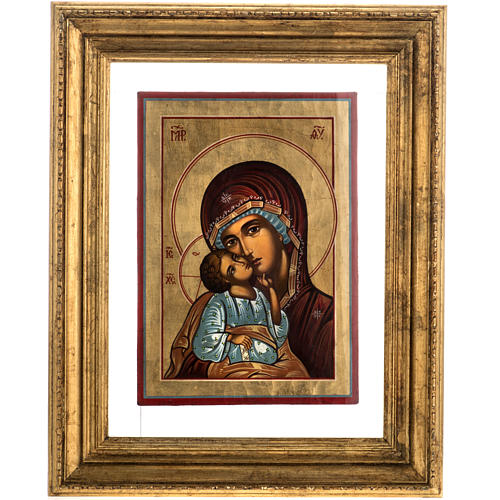 Russian icon in glass, Madonna and Child 1