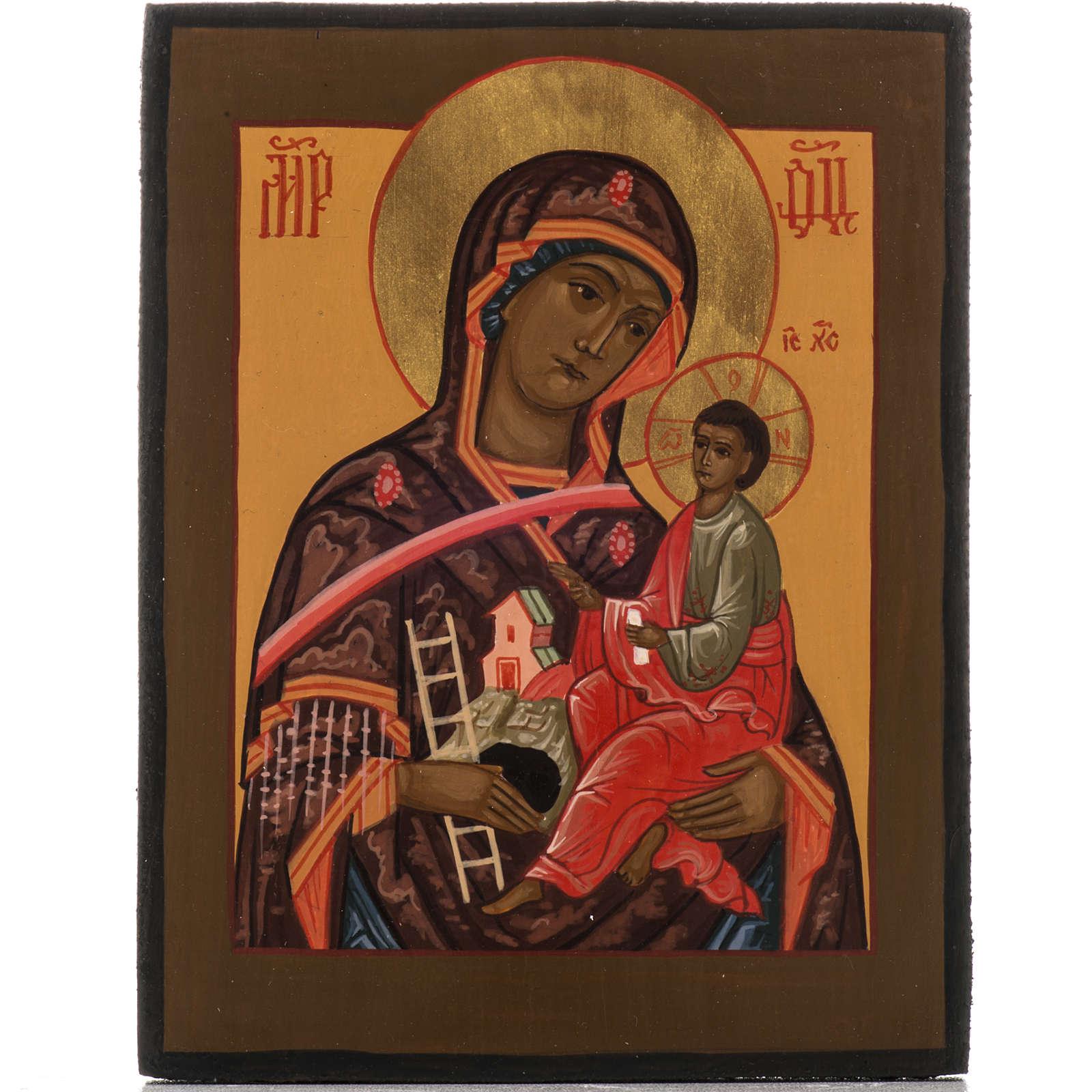 Icona Russa Madre di Dio Montagna dipinta 18x12 4