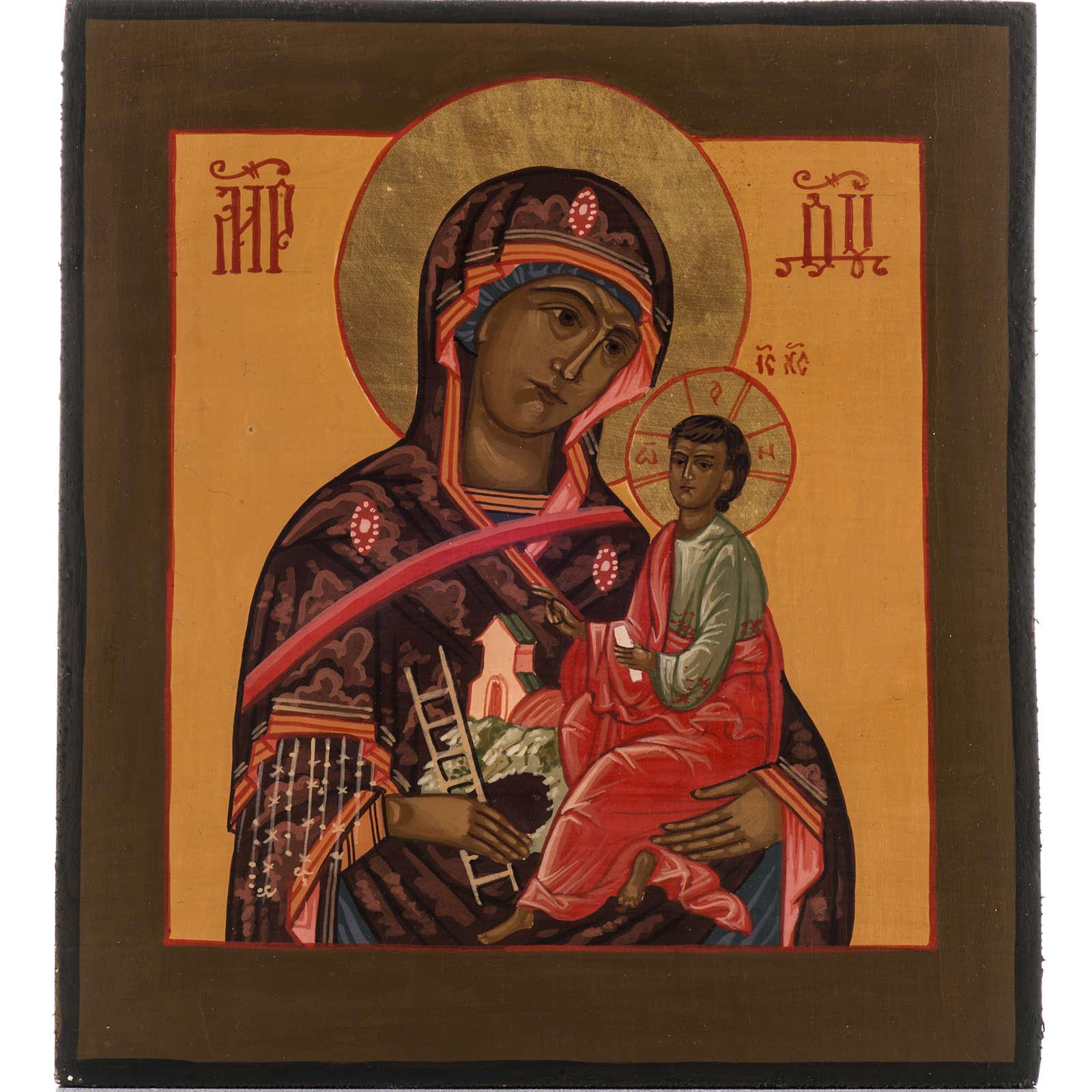 Icona Russa Madre di Dio Montagna dipinta 20x17 4
