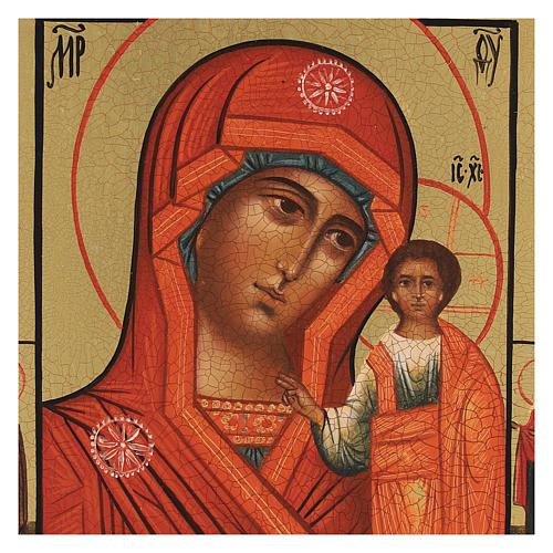 Icona russa dipinta Madonna di Kazan 14x10 cm 2