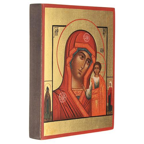 Icona russa dipinta Madonna di Kazan 14x10 cm 3