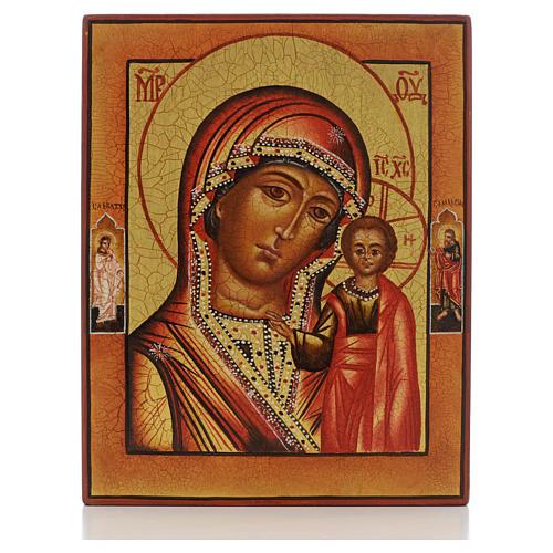 Icono rusa pintada Virgen de Kazan con 2 santos 1