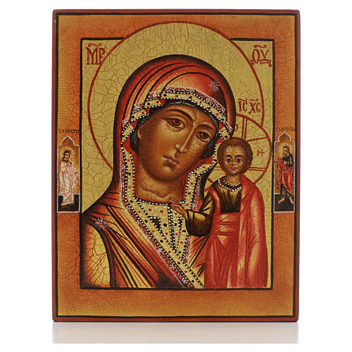 Russian painted icon, Our Lady of Kazan with 2 saints 1
