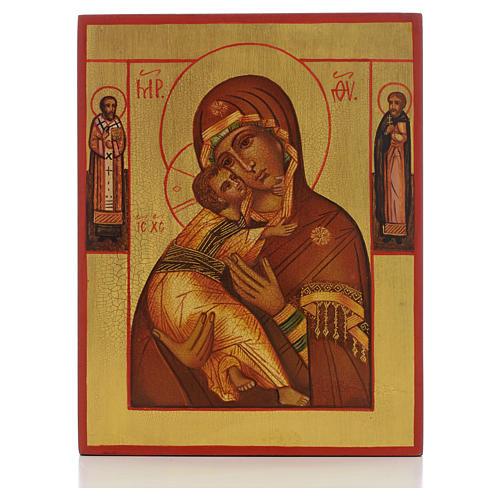Icona russa Madonna di Vladimir con 2 santi 1