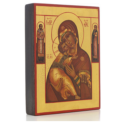 Icona russa Madonna di Vladimir con 2 santi 2