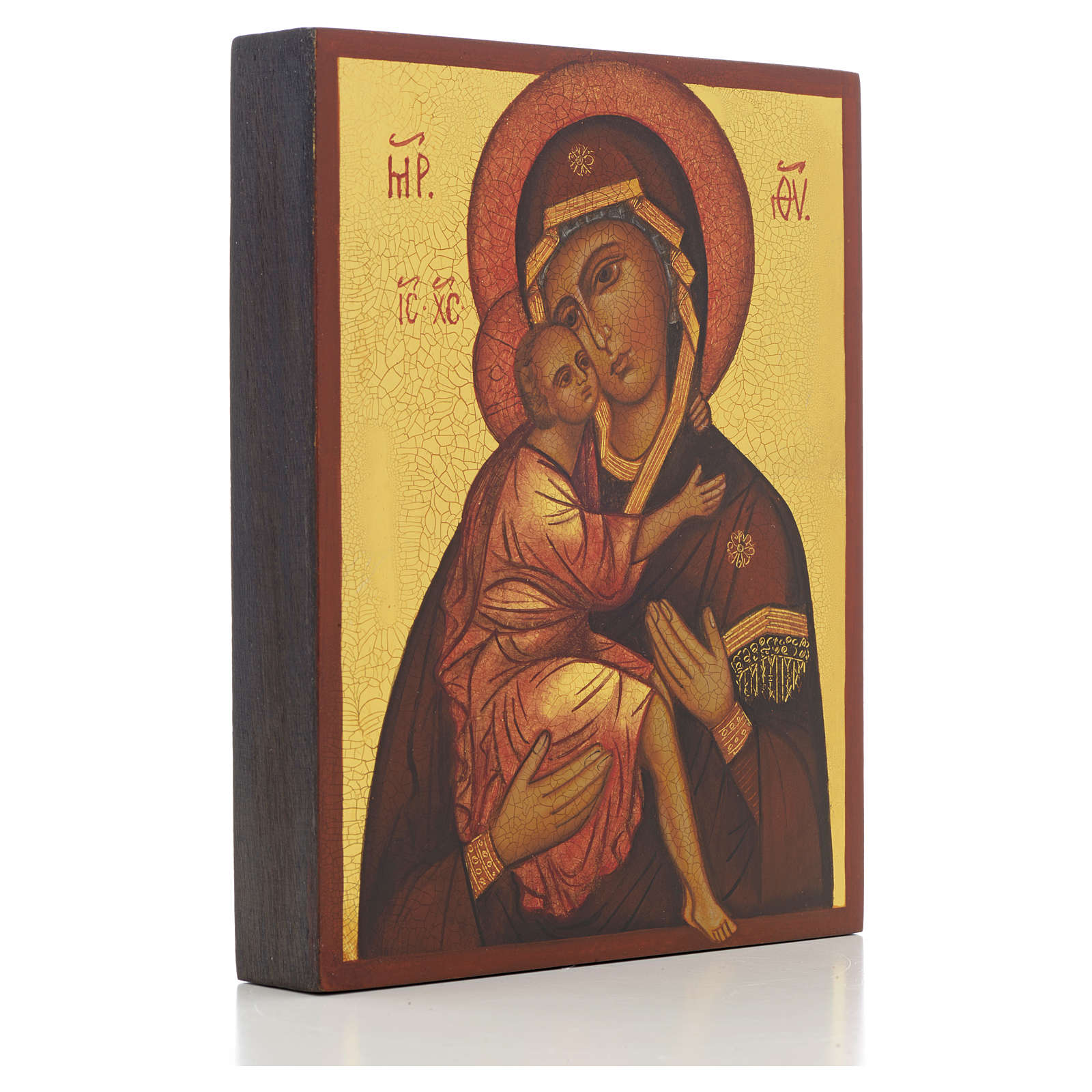 Icona russa Madonna di Belozersk 14x11 cm 4