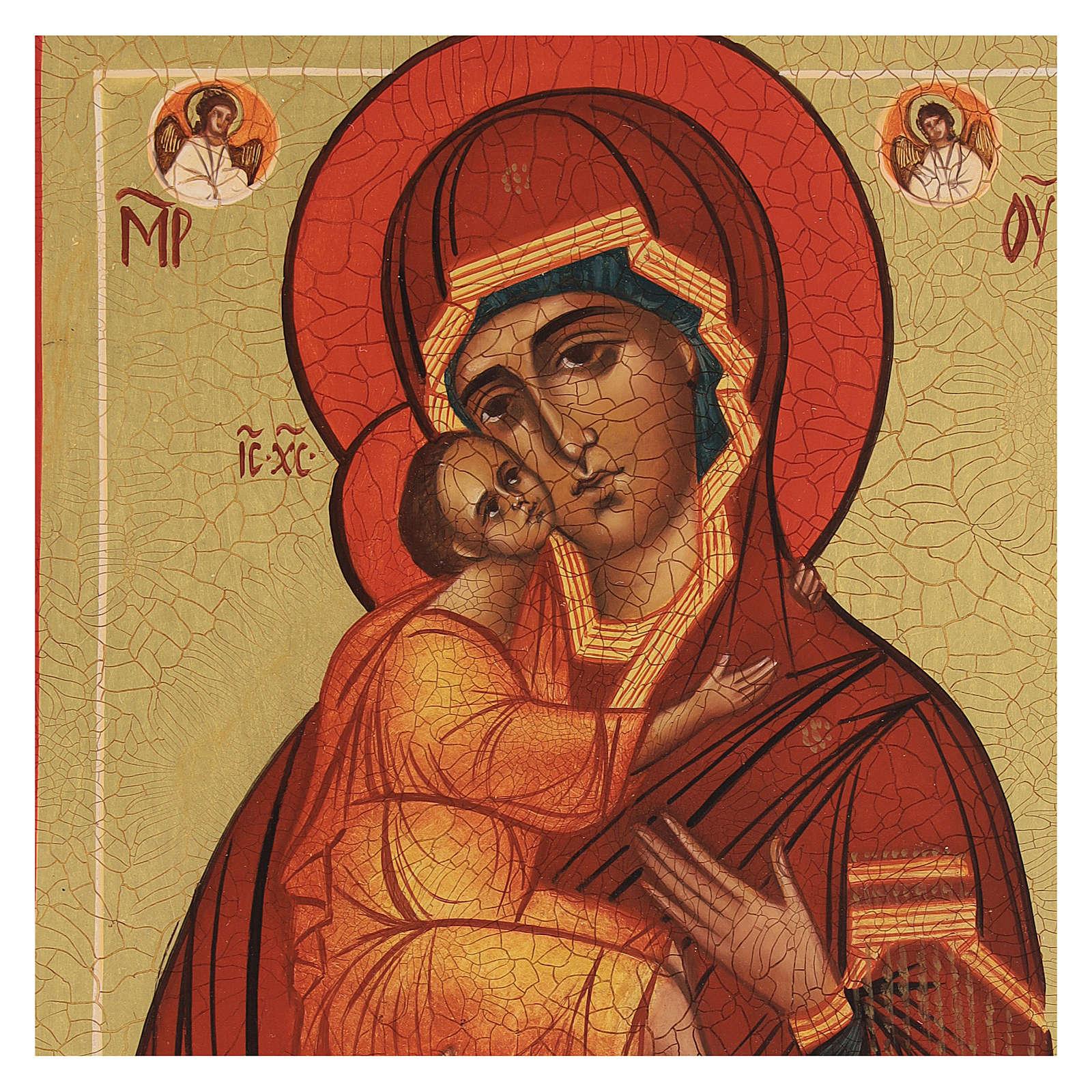 Icona russa Madonna di Belozersk 14x10 cm 4