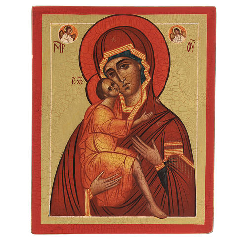 Icona russa Madonna di Belozersk 14x10 cm 1