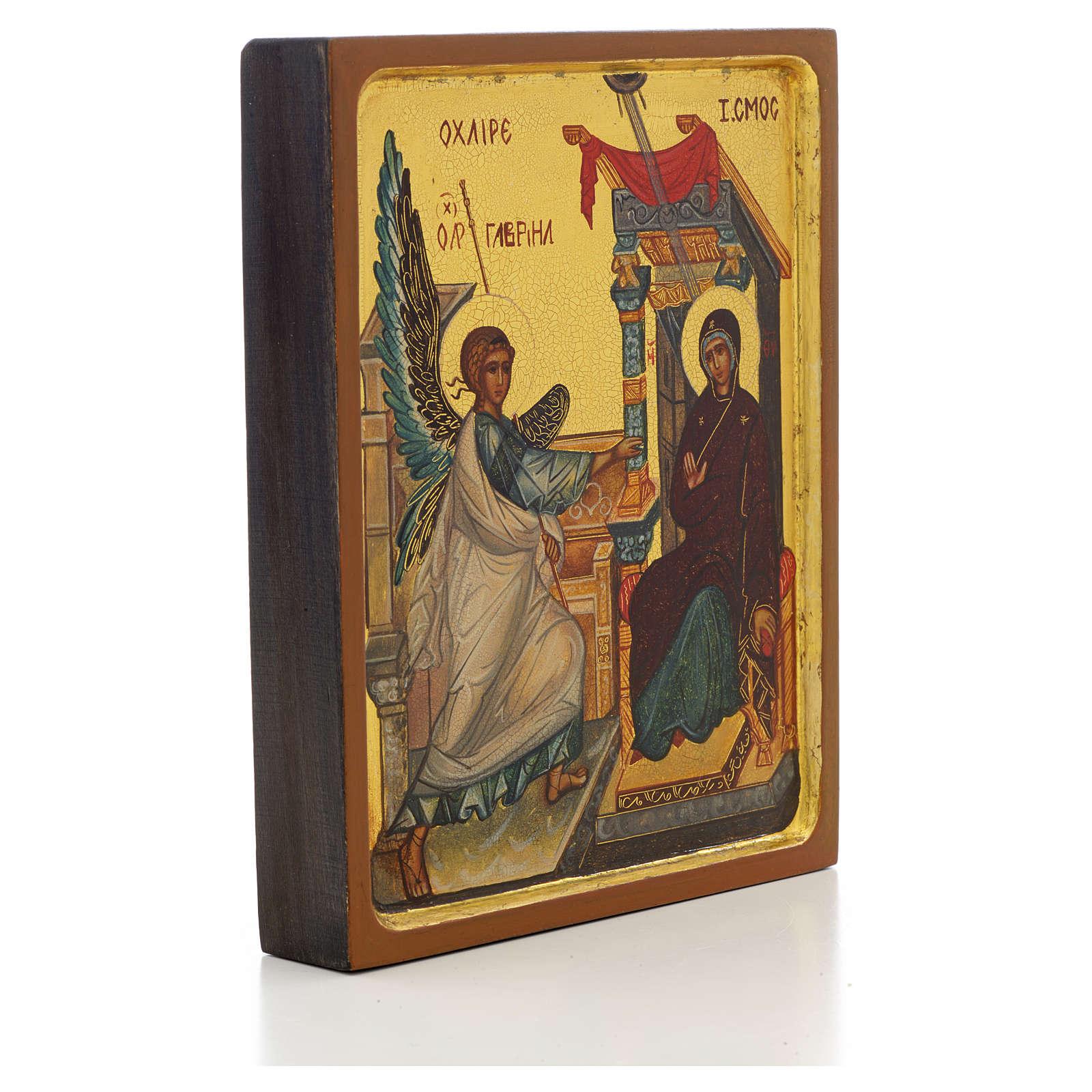 Icono ruso pintado Anunciación borde alto 4