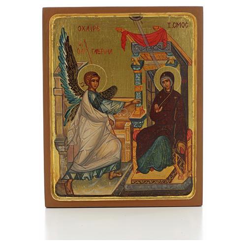 Icono ruso pintado Anunciación borde alto 1
